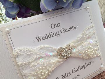 Personalised Wedding Guest Book - Vintage Lace & Pearls